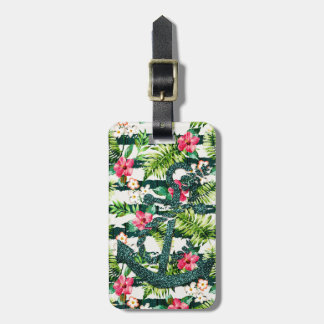Tropical Floral Faux Glitter Anchor Nautical Luggage Tag