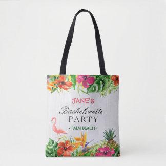 Tropical Floral Flamingo Bride Bachelorette Party Tote Bag