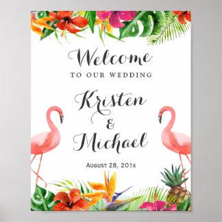 Tropical Floral Flamingo Couple Luau Wedding Sign