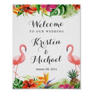Tropical Floral Flamingo Couple Luau Wedding Sign Poster