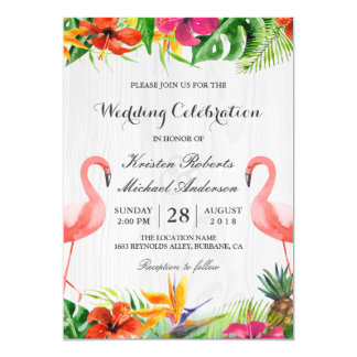 Tropical Floral Flamingo Couple Wedding Invitation