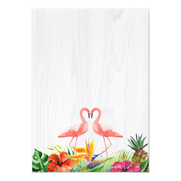 Tropical Floral Flamingo Couple Wedding Invitation (back side)