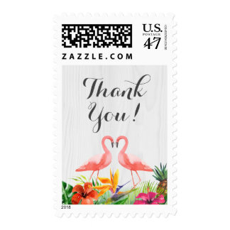 Tropical Floral Flamingo Couple Wedding Thank You Postage