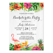 Tropical Floral Flamingo Luau Bachelorette Party Invitation