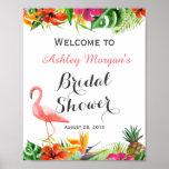 Tropical Floral Flamingo Luau Bridal Shower Sign