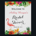 "Tropical Floral Flamingo Luau Bridal Shower Sign<br><div class=""desc"">================= ABOUT THIS DESIGN ================= Tropical Floral Flamingo Luau Bridal Shower Sign Poster. (1) The default size is 8 x 10 inches, you can change it to any size. (2) For further customization, please click the &quot;Customize&quot; button and use our design tool to modify this template. All text style, colors,...</div>"