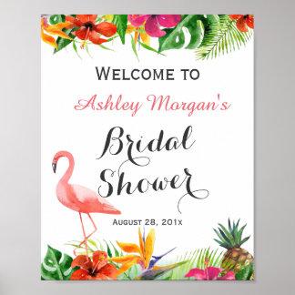 Tropical Floral Flamingo Luau Bridal Shower Sign Poster