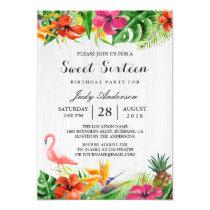 Tropical Floral Flamingo Luau   Sweet 16 Birthday Invitation