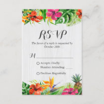 Tropical Floral Flamingo Rustic Wood Wedding RSVP
