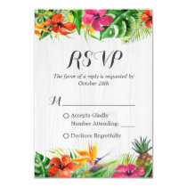 Tropical Floral Flamingo Rustic Wood Wedding RSVP Card