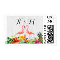 Tropical Floral Flamingo Wedding Couple Monogram Postage
