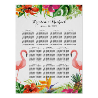 Tropical Floral Flamingo Wedding Seating Chart