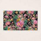Tropical floral, flamingos and gold strokes business card