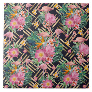 tropical floral flamingos and gold strokes ceramic tile