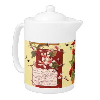 Tropical Floral Flowers Bumblebees Poetry Teapot