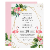 Tropical Floral Gold Frame Flamingo Summer Wedding Invitation