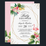 "Tropical Floral Gold Glitters Flamingo Baby Shower Invitation<br><div class=""desc"">Tropical Floral Gold Glitters Flamingo Baby Shower Invitation. (1) For further customization, please click the &quot;customize further&quot; link and use our design tool to modify this template. (The background color is changeable and all elements are adjustable / removable.) (2) If you prefer Thicker papers / Matte Finish, you may consider...</div>"