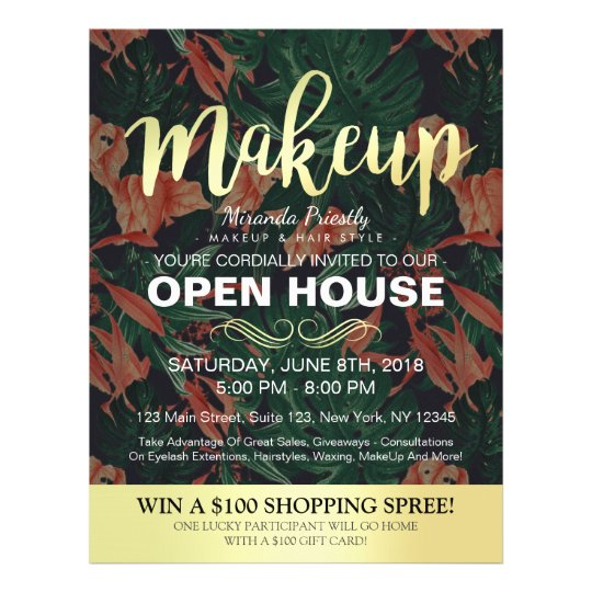 Tropical Floral Gold Script Salon Open House Flyer  Zazzle