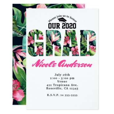 Beach Themed Tropical Floral GRAD Graduation Party Invitations