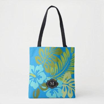 Beach Themed Tropical floral Hawaiian Hibiscus monogram beach Tote Bag