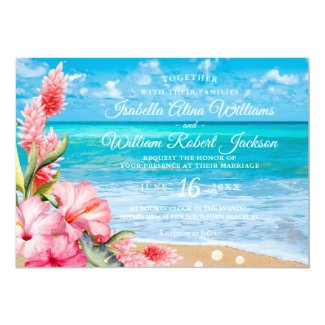 Tropical Floral Hibiscus Beach Wedding Invitation