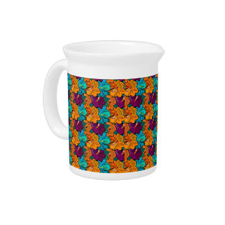Tropical Floral Hibiscus Blooms Orange Blue Purple Beverage Pitchers