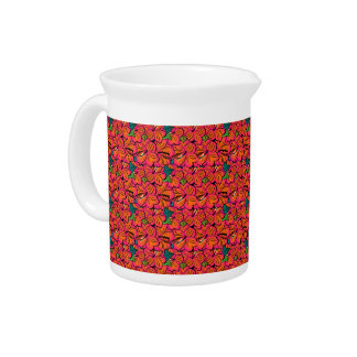 Tropical Floral Hibiscus Blooms Orange &  Hot Pink Pitcher