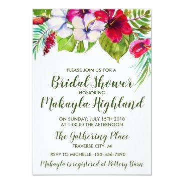 Hawaiian Themed Tropical Floral Island Hibiscus Bridal Shower Card