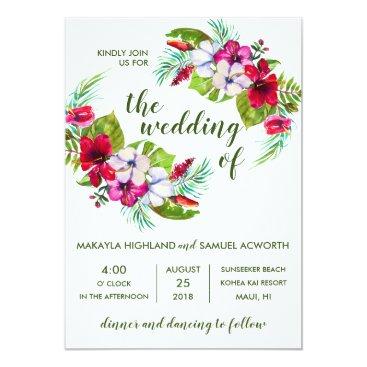 Hawaiian Themed Tropical Floral Island Hibiscus Green Wedding Card