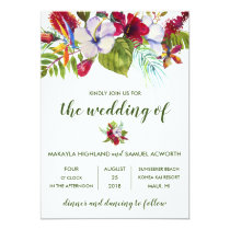 Tropical Floral Island Hibiscus Green Wedding Invitation