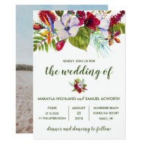 Tropical Floral Island Hibiscus Photo Wedding Invitation