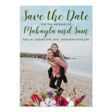 Hawaiian Themed Tropical Floral Island Hibiscus Save The Date Card