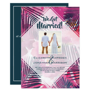 Tropical Floral Just Married Wedding Announcement