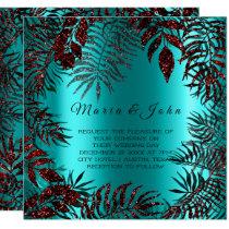 Tropical Floral Leaf Glitter Garden Burgundy Ocean Card