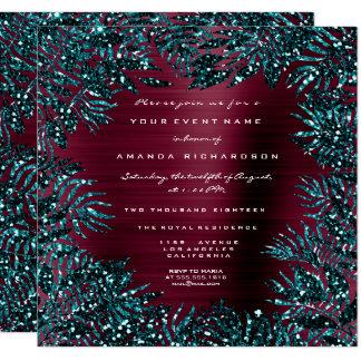 Tropical Fl Leafs Framed Glitter Teal Burgundy Card