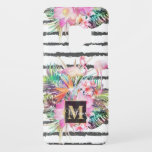 "Tropical floral leaves and flamingos stripes Case-Mate samsung galaxy s9 case<br><div class=""desc"">Trendy, modern, exotic bright flowers, elegant, Flamingo birds, and leaves, abstract brush strokes paint stripes, white background, plumeria, bird of paradise, lotus flowers, palm leaves, monstera leaves, pineapple foliage, animal, feathers. Hawaiian design, shades of bright, vivid pink, coral, orange, blue, green, yellow, orange and purple colors. Summer, sun, beach, feminine,...</div>"