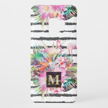 Tropical floral leaves and flamingos stripes Case-Mate samsung galaxy s9 case