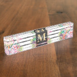 tropical floral leaves and flamingos stripes desk name plate