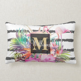 tropical floral leaves and flamingos stripes lumbar pillow
