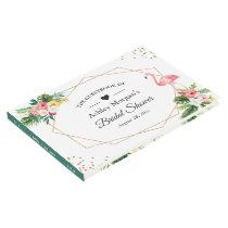 Tropical Floral Leaves Flamingo Bridal Shower Guest Book