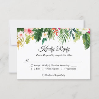 Tropical Floral Leaves Summer Wedding RSVP Reply