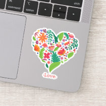 Tropical Floral Love Heart | Valentine's Day Sticker