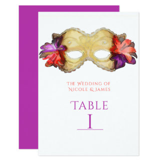 Tropical Floral Masquerade Mask Table Number Card