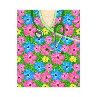 Tropical Floral Medical Scrubs Canvas Print