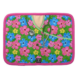 Tropical Floral Medical Scrubs Folio Planners