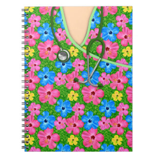 Tropical Floral Medical Scrubs Notebook