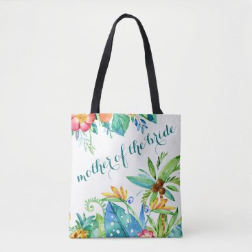 Beach Themed Tropical Floral Mother of the Bride Tote Bag