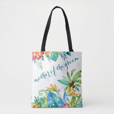 Beach Themed Tropical Floral Mother of the Groom Tote Bag