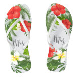 Tropical Floral Mrs Bride ID475 Flip Flops