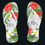 """Tropical Floral Mrs Bride ID475 Flip Flops<br><div class=""""desc"""">Create special flipflops for the bride with this beautiful design featuring lush tropical foliage and colorful floral accents. The eye-catching 'mrs' script text is optional and can be deleted to use the template for other occasions. Search ID475 to see other products with this design including matching wedding stationery and more....</div>"""
